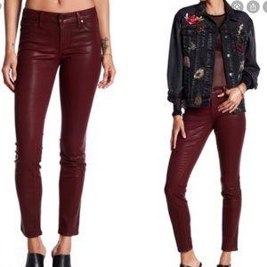Level 99 New NWT Burgundy Coated Skinny Jeans 26/2